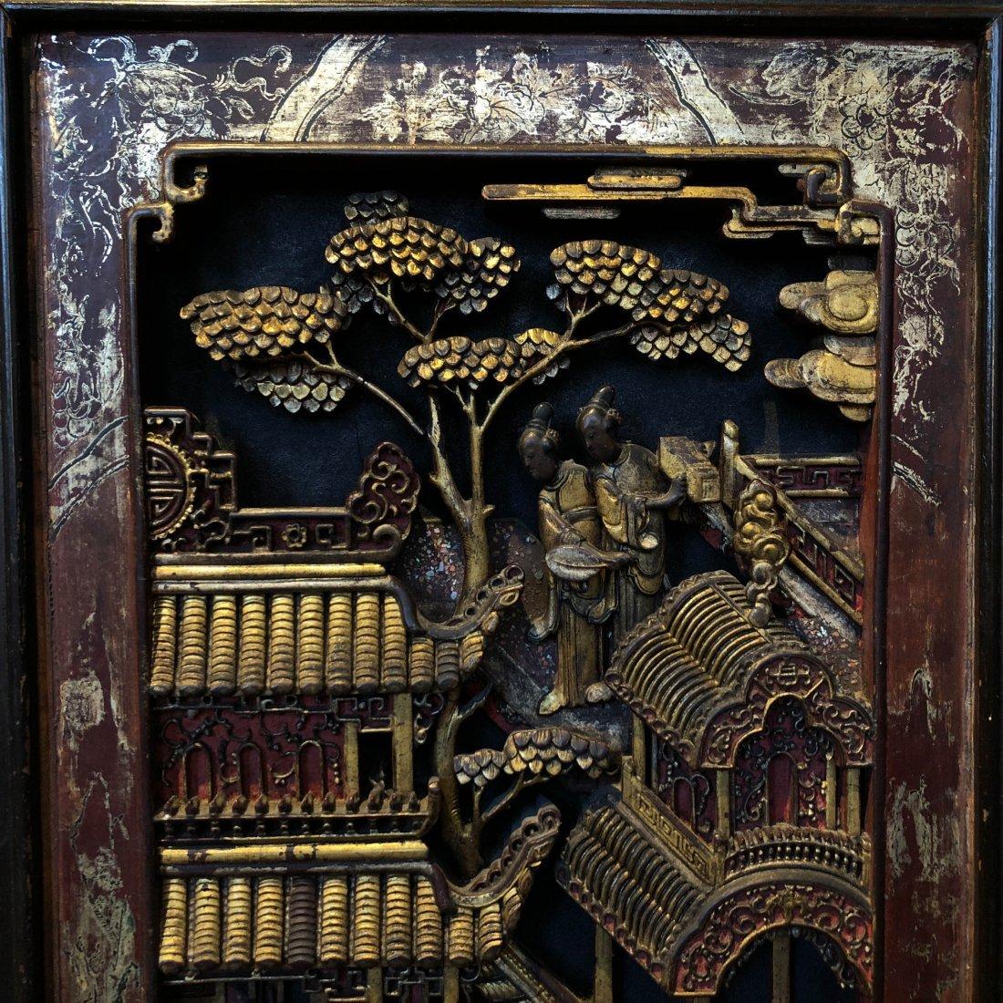 Antique Chinese Gilt & Hardwood Carved Cabinet - 9