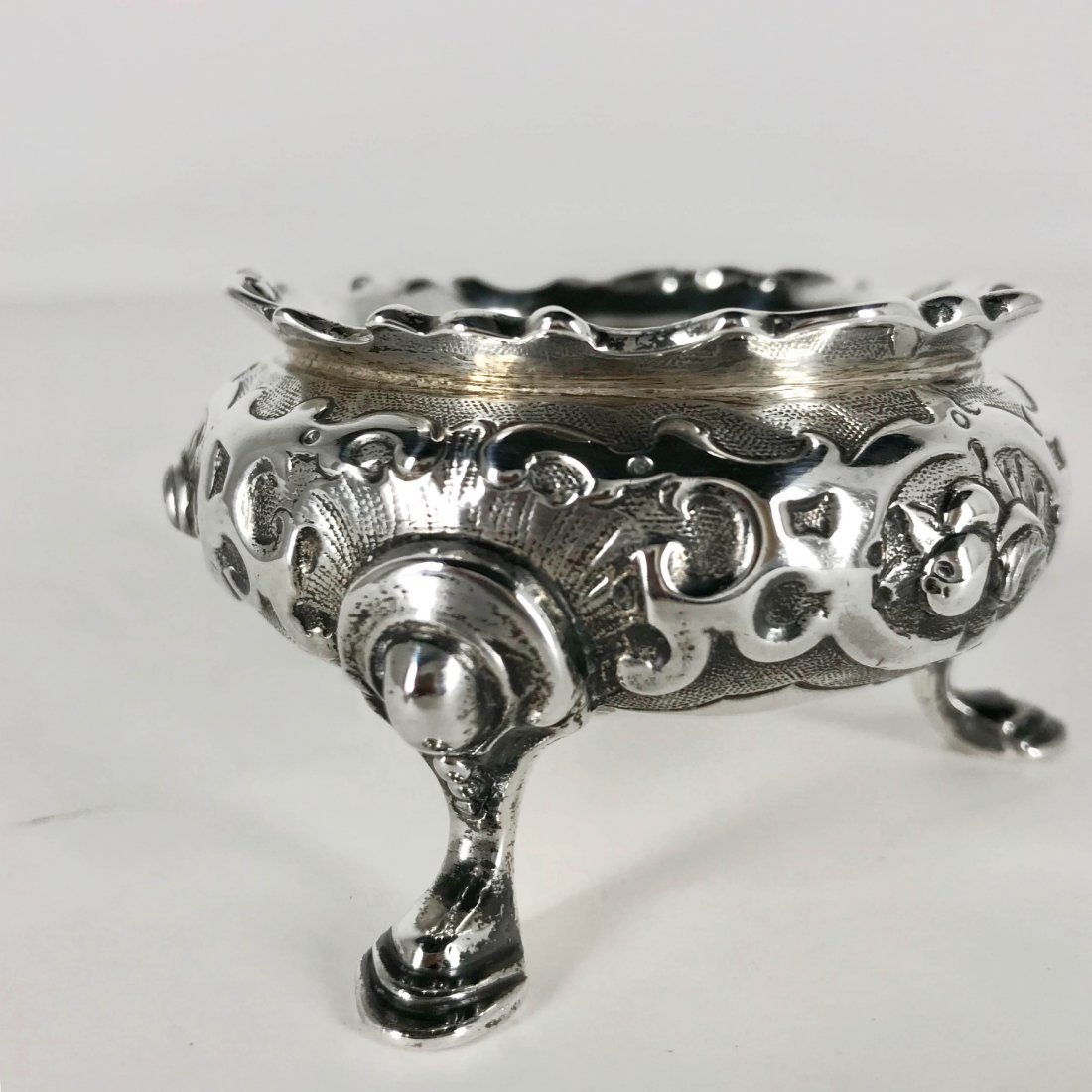 Antique Marked Sterling Silver Repousse Salt Cellar - 2
