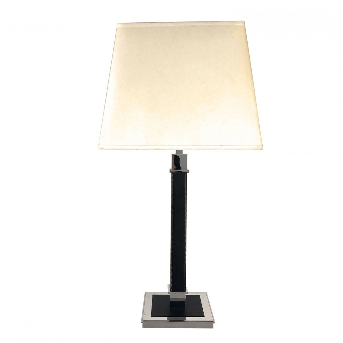 Ralph Lauren Polished Nickel Black Leather Table Lamp - 2