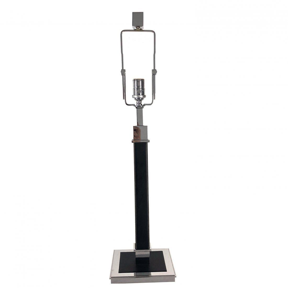 Ralph Lauren Polished Nickel Black Leather Table Lamp - 3