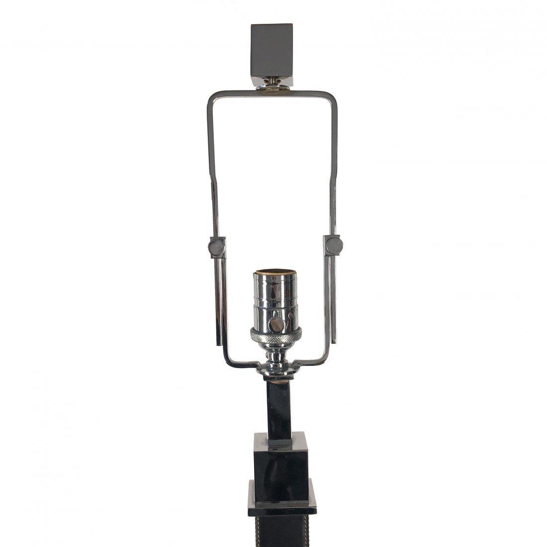 Ralph Lauren Polished Nickel Black Leather Table Lamp - 4