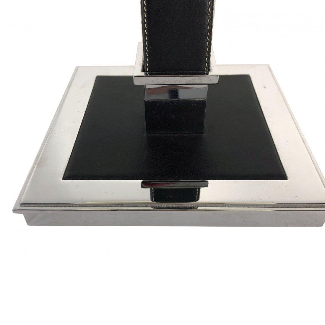 Ralph Lauren Polished Nickel Black Leather Table Lamp - 5