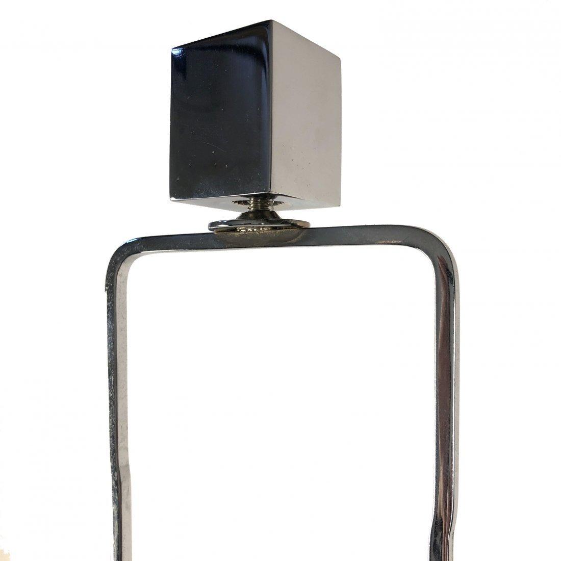 Ralph Lauren Polished Nickel Black Leather Table Lamp - 6
