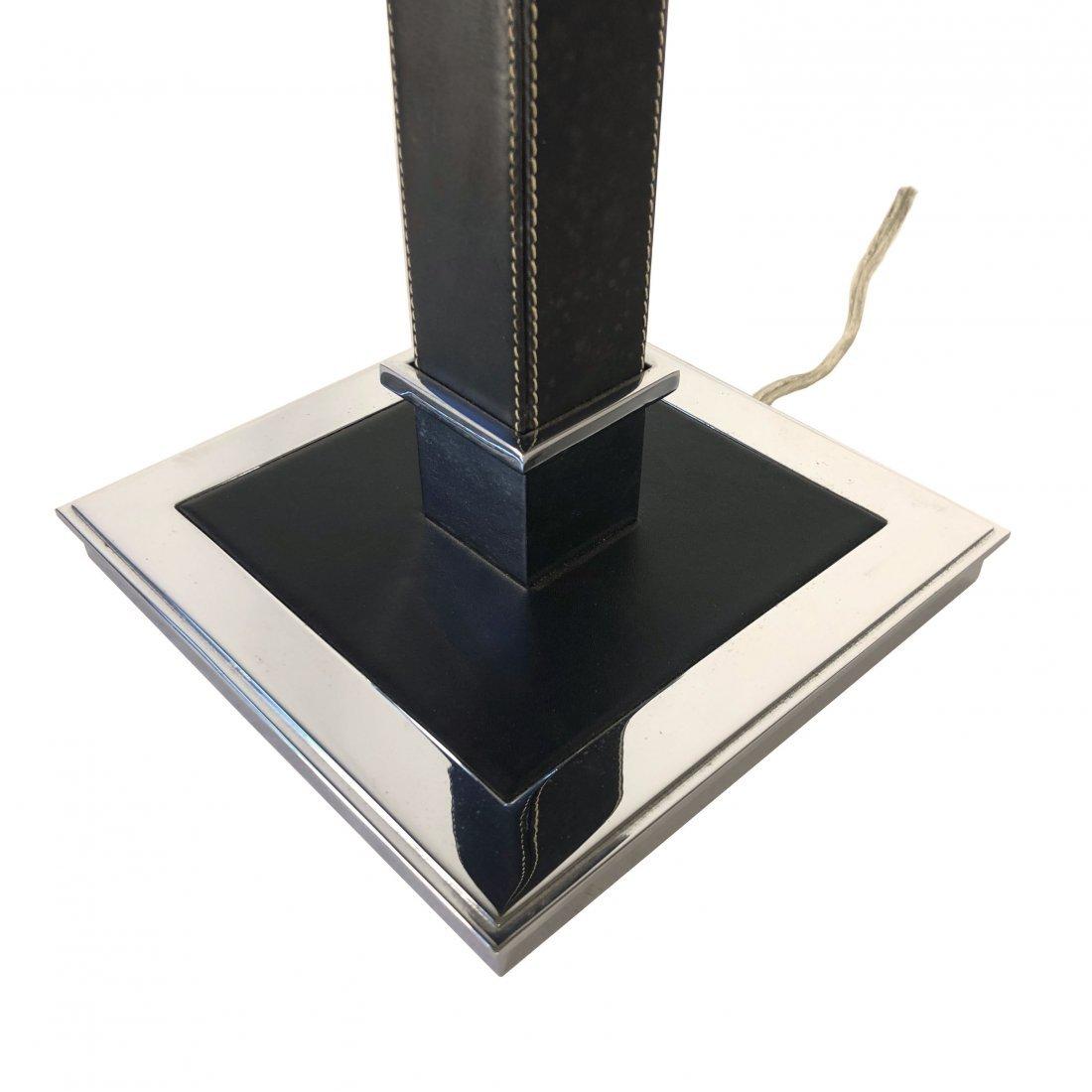 Ralph Lauren Polished Nickel Black Leather Table Lamp - 7