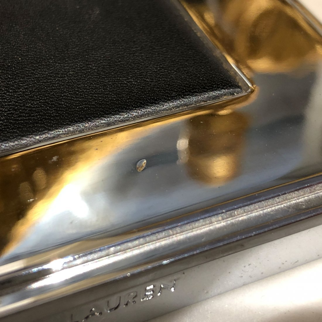Ralph Lauren Polished Nickel Black Leather Table Lamp - 9