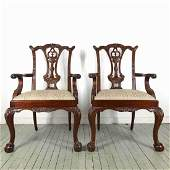Pair of Carved Chippendale Arm Chairs