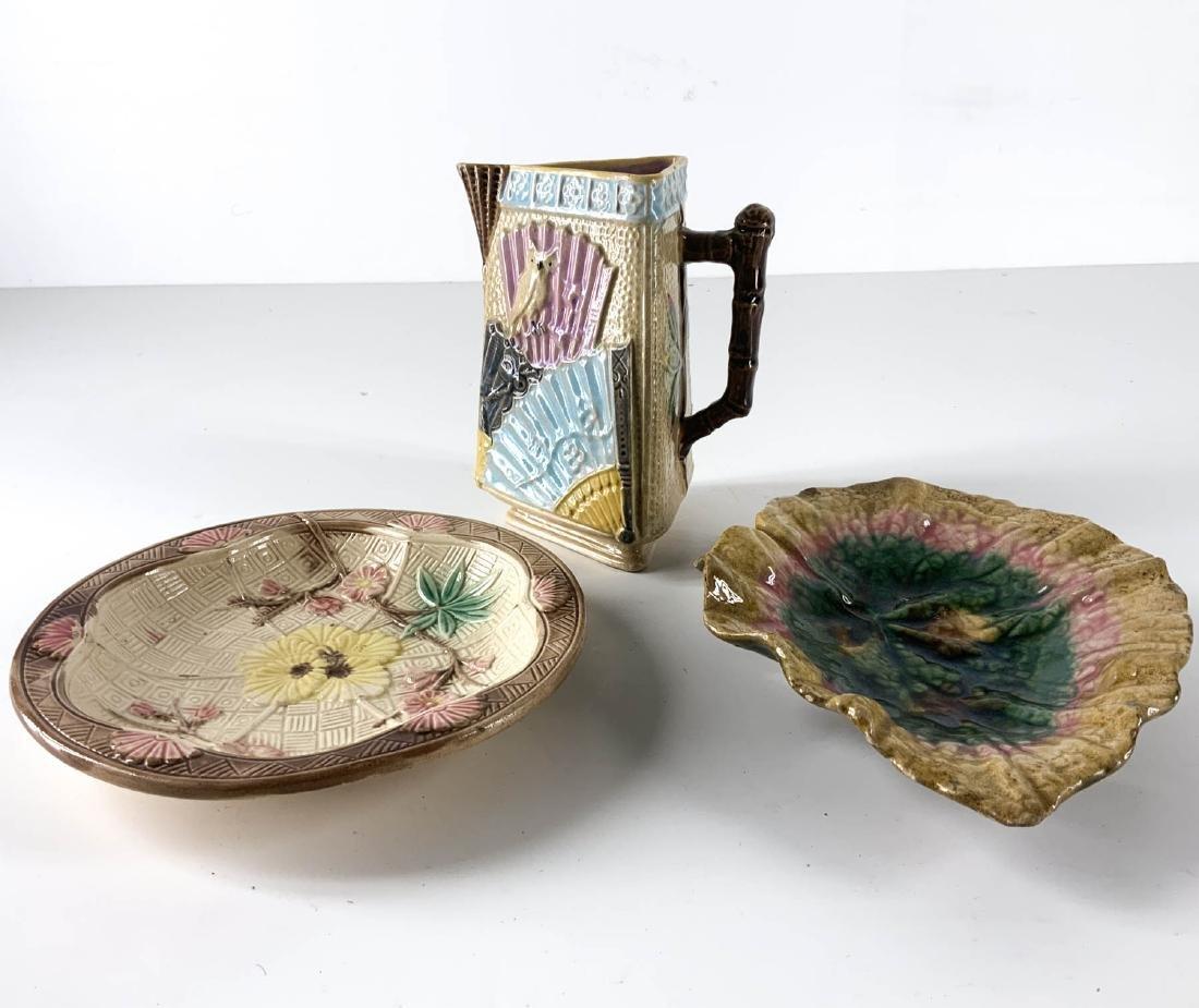 Three Piece Antique Majolica Collection
