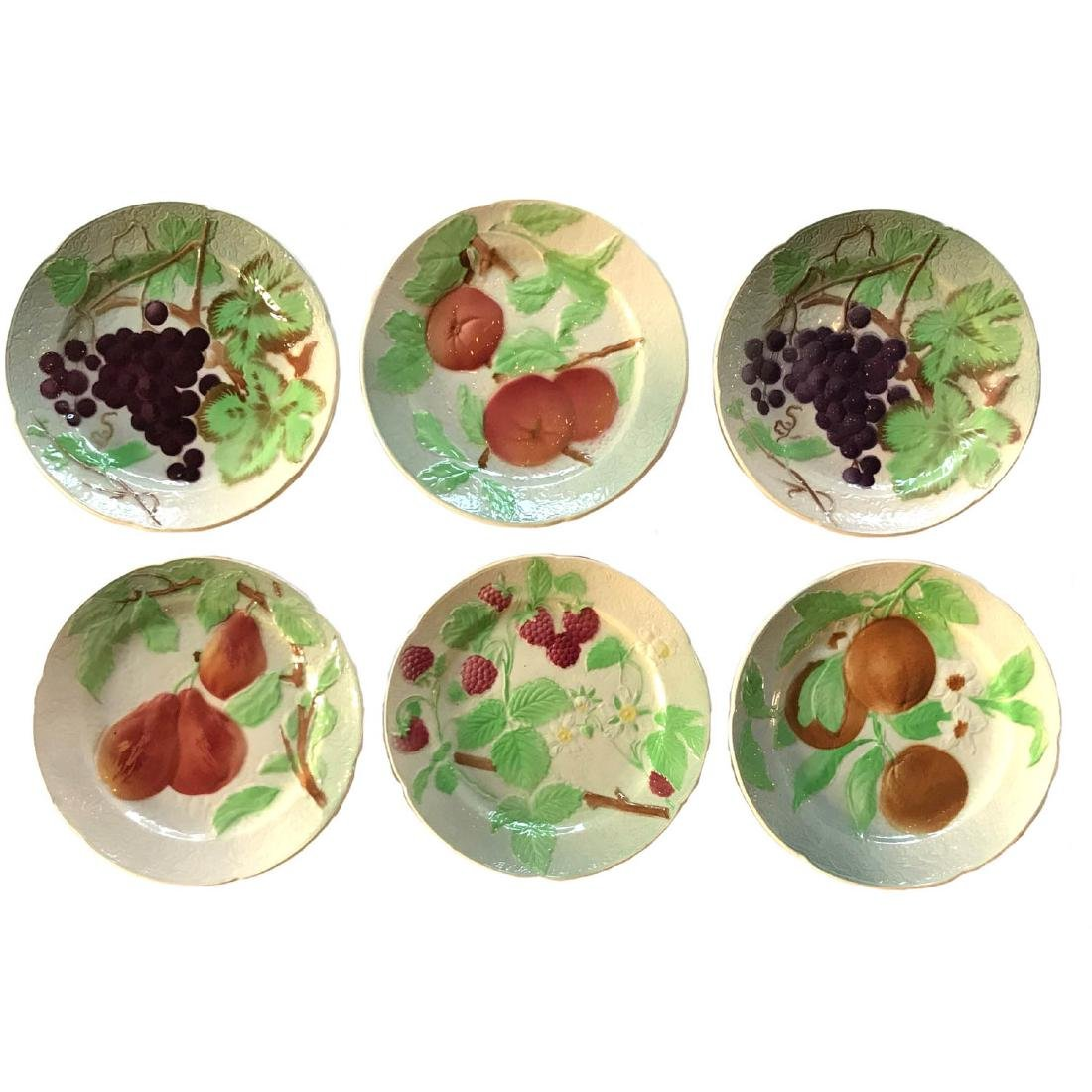 Six French Majolica Plates St. Clement Pottery