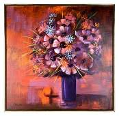 Large Contemporary Floral Painting Signed