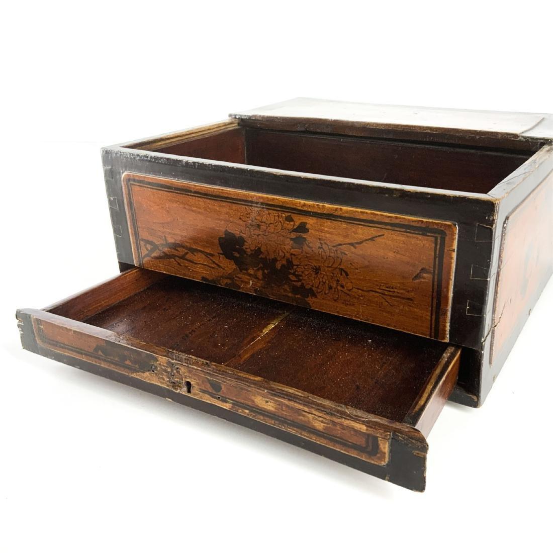 Antique 19th Century Asian Lap Desk Box - 6