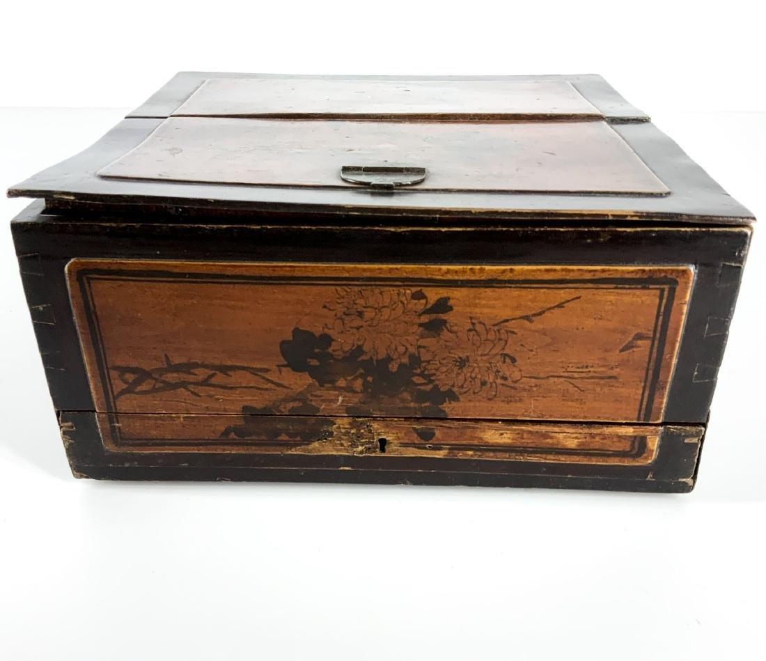 Antique 19th Century Asian Lap Desk Box - 9