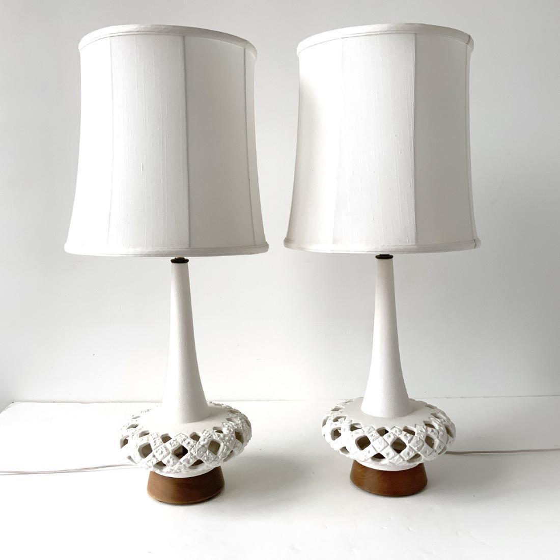 Pair Mid Century Ceramic White Lamps