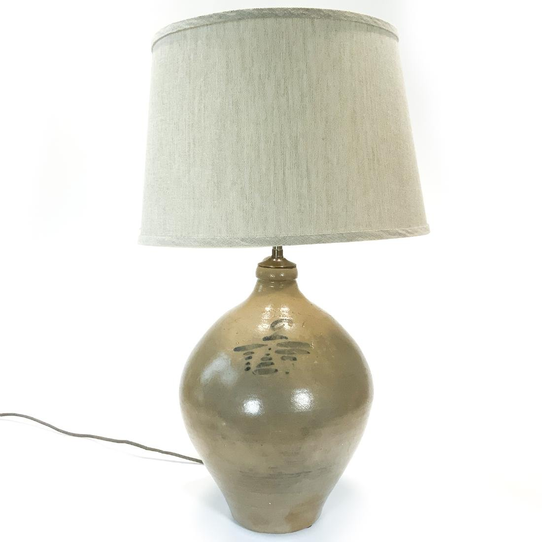 Antique 2 Gallon Clarke Lyon Stoneware Lamp c1830