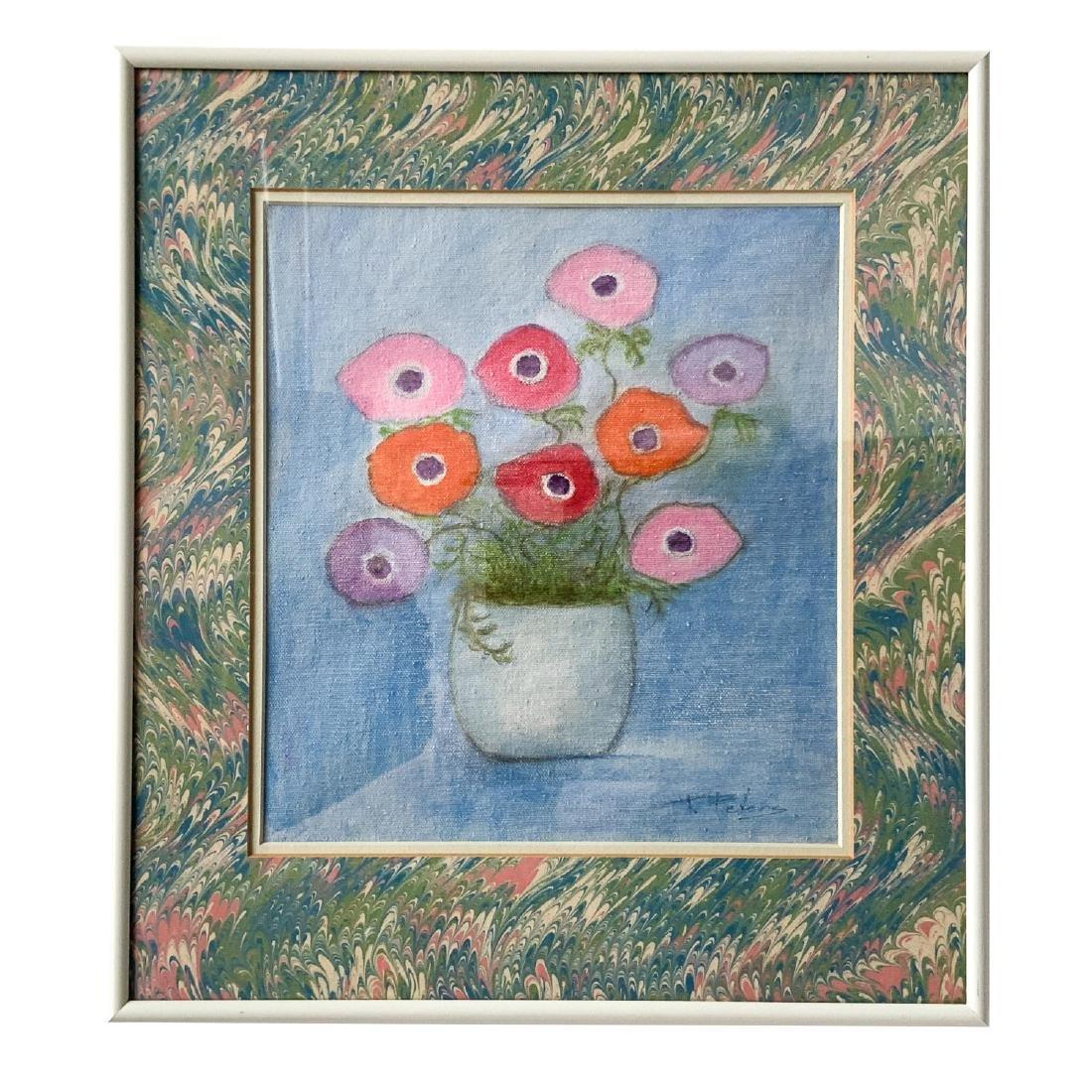 Original Signed Framed Floral Oil Painting 1978