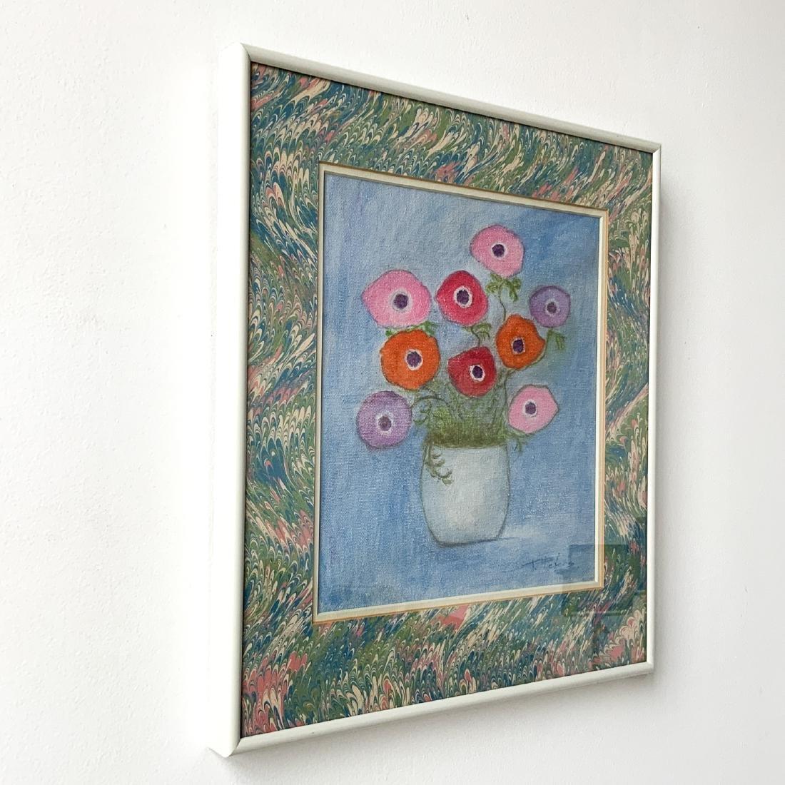 Original Signed Framed Floral Oil Painting 1978 - 2