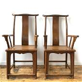 Pair of HuangHuaLi Officer Hat Armchairs 19th C