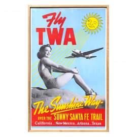 Vintage Fly TWA Poster - Framed Not Repro 1939 Santa Fe