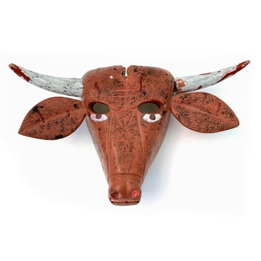 Vintage Carved Wood Mexican Cow Dance Mask