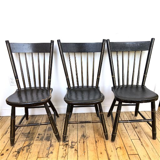 Three Antique Black Painted Chairs