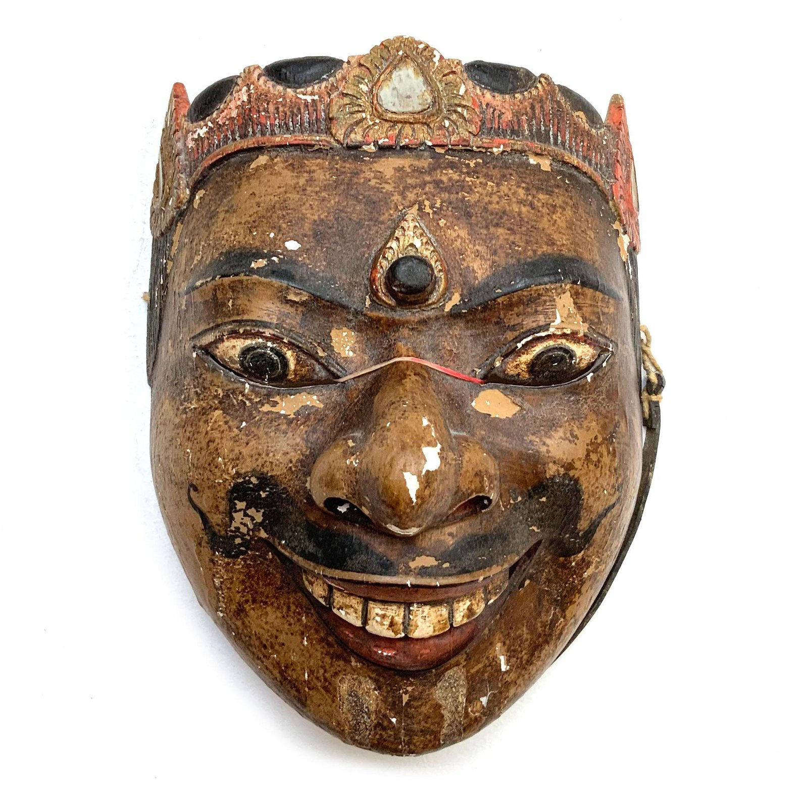 Mid Century Balinese Java Carved Wood Dance Mask