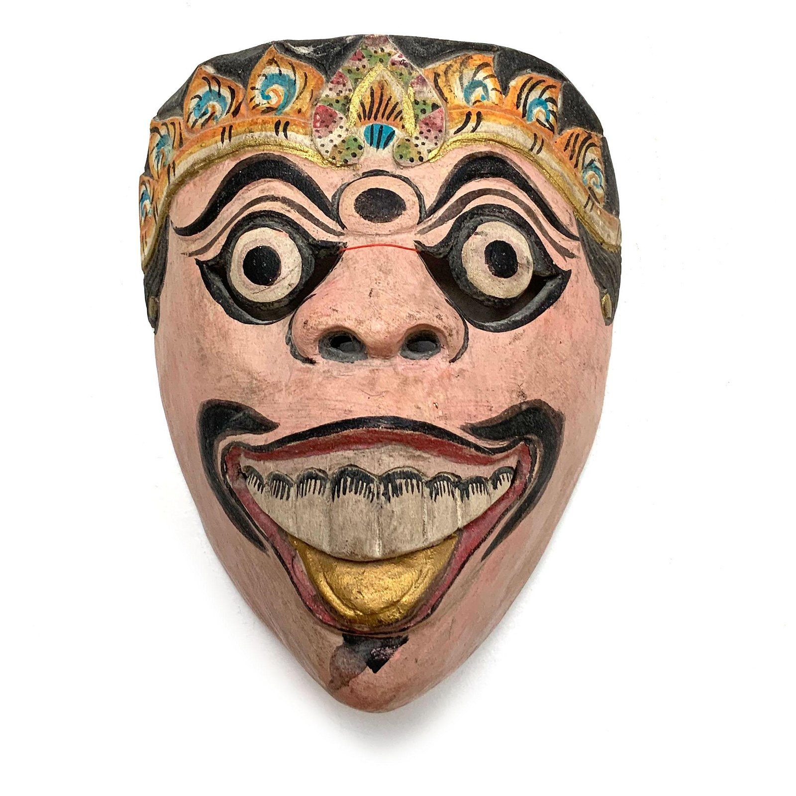 Vintage Topeng Wood Theatre Mask from Java