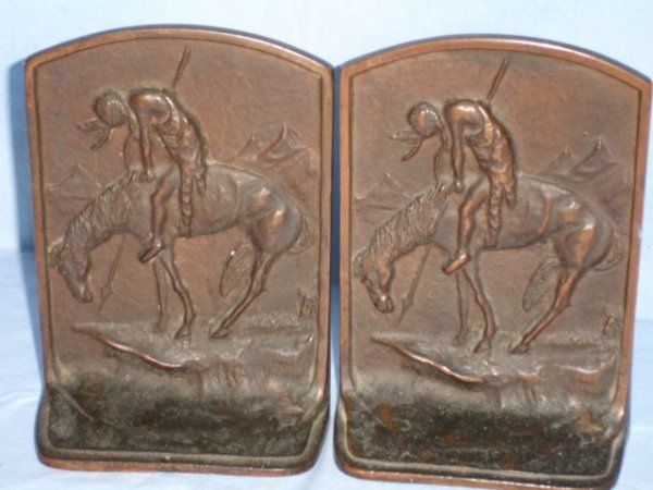 """4: Bronze bookends, """"End of Trail"""" indian warrior"""
