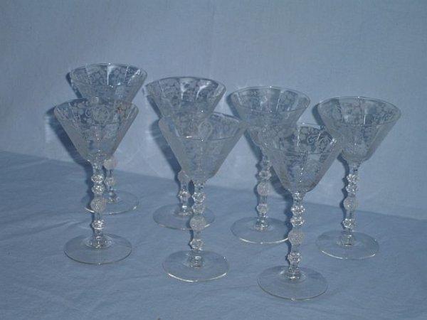 9: Lot of 7 Cambridge crystal wine stems, Diane