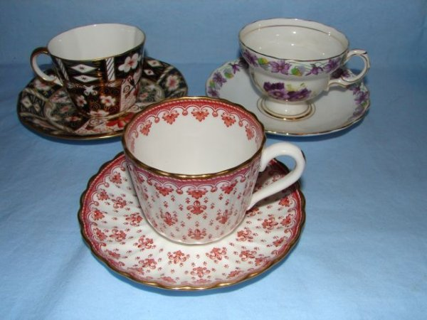 1: 3 English bone china cups and saucers