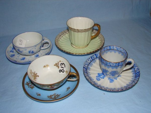 3: 4 porcelain demitasse cups and saucers