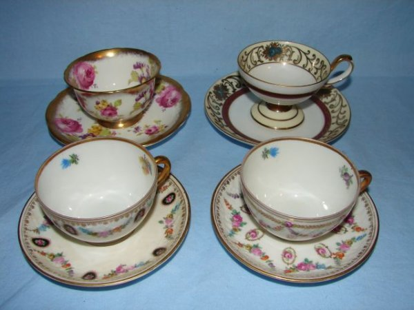 4: 4 bone china demitasse cups and saucers