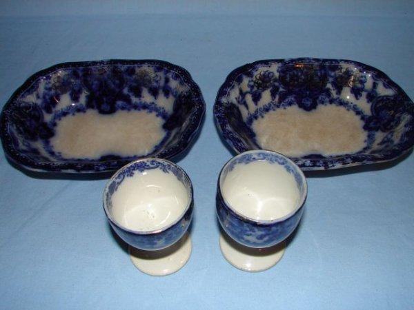 7: Flow blue potato bowls and egg cups
