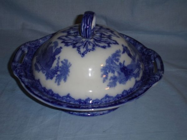 9: Flow blue ironstone covered casserole