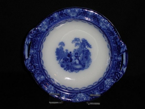 "11: Flow blue bowl and underplate, stamped ""Watteau"" Do"