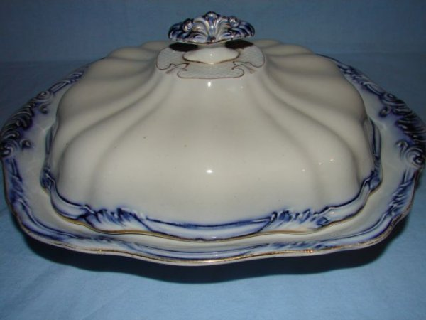 13: Flow blue covered serving dish
