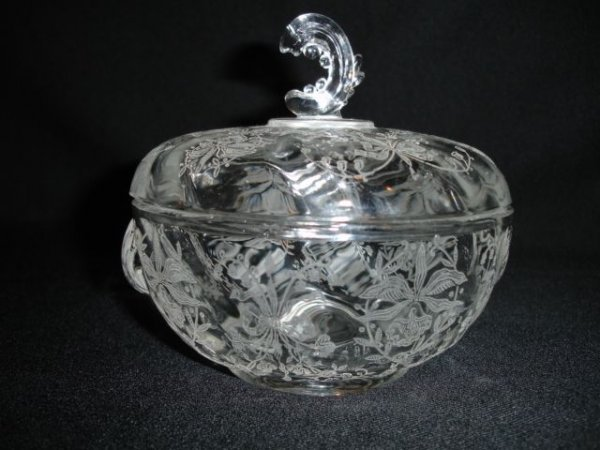 19: Heisey Orchid Candy Dish W/Wave Finial Lid