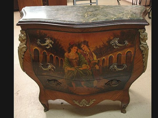 11: Painted Victorian Bombe Chest w/ Marble Top