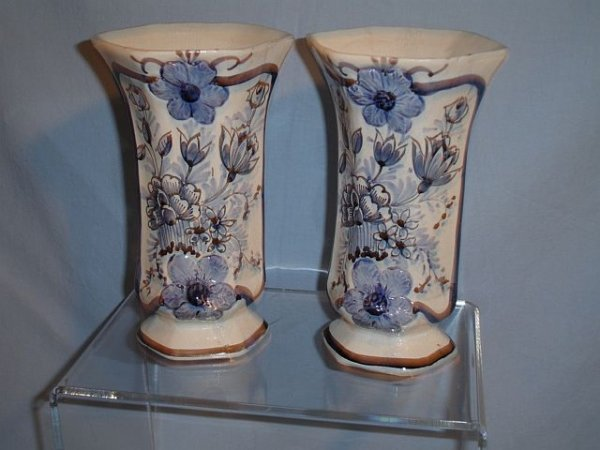 23: Pair Hand-painted Delft Blue and White Vases