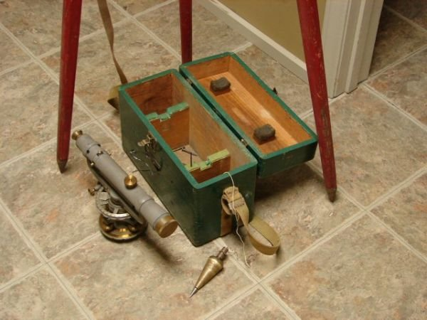 98: Vintage Survey Equipment with Box and Tripod