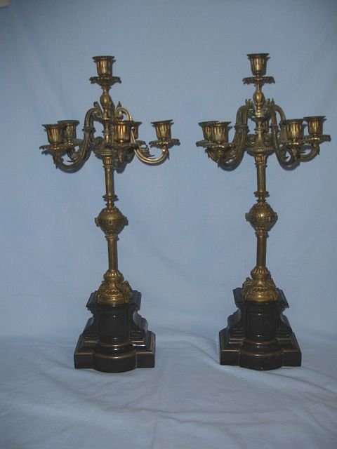 113: Pair Antique French Tole & Brass Candelabras