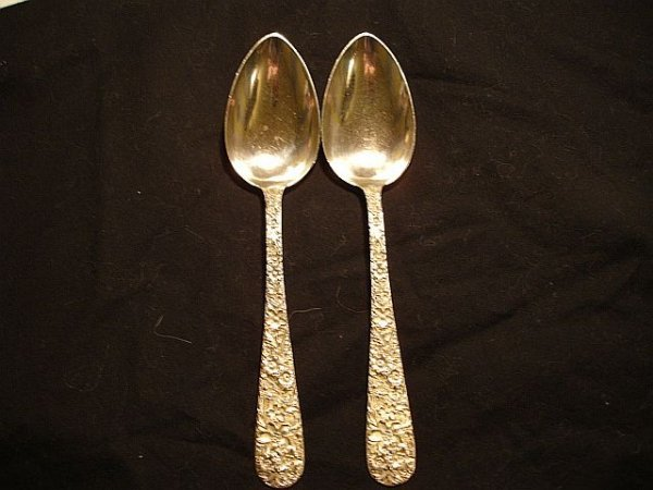 118: 2 S. Kirk & Sons Repousse Sterling Serving Spoons