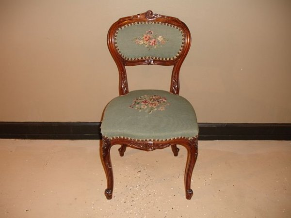 120: Mahogany Needle Point Side Chair