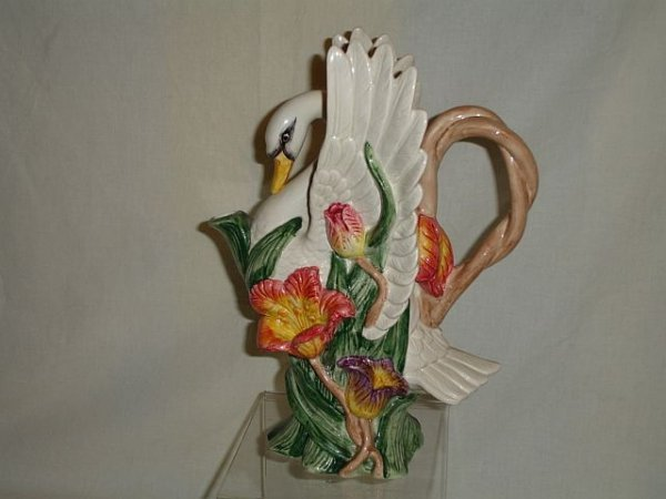 123: 1995 Fitz and & Floyd Tulip Swan Pitcher