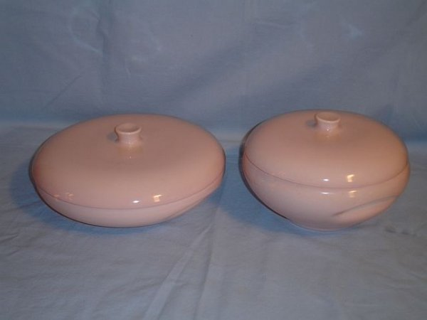 132: 2 Russel Wright Iroquois Covered Casseroles Pink