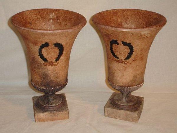 178: Pair Sarreid Handpainted Resin Urns