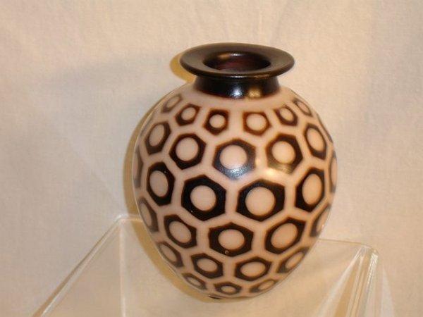 183: Metal Vase Artist Signed, from Peru
