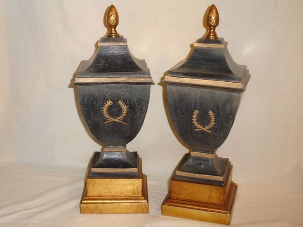 193: Painted Decorative Wood Urns