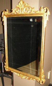 196: LaBarge Gold Frame Beveled Mirror