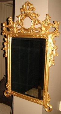 197: Gold Frame Beveled Mirror