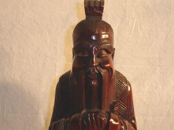 211: Wood Carved Oriental Male Statue