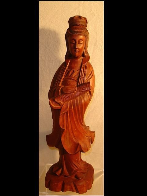 212: Wood Carved Oriental Female Statue